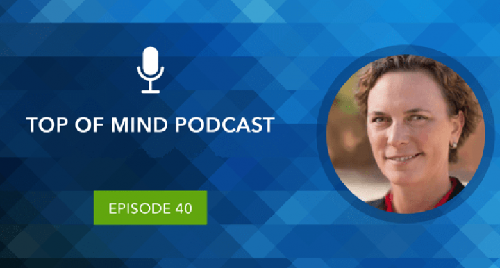 """""""Top of Mind podcast"""" with photo of Darcy Van Patten"""